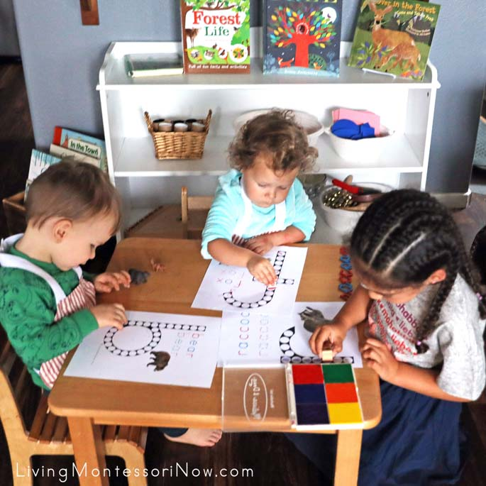 Do-a-Dot Activities for Multiple Ages, Including Woodland Animal Footprint Stamping Work
