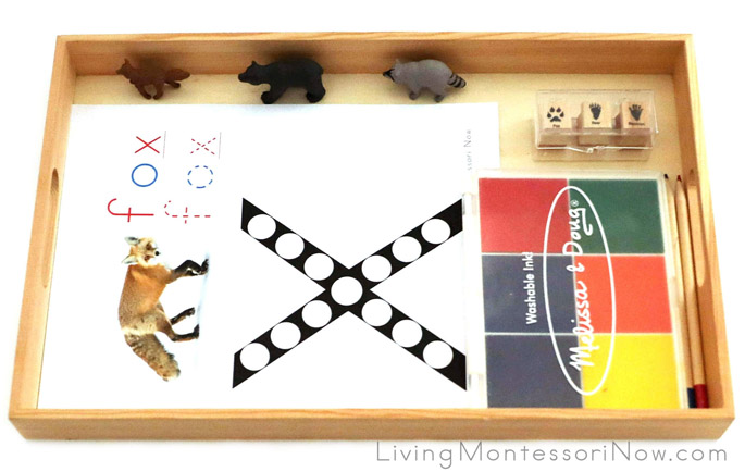 Fox Letter X (and Letter F) Tray with Rubber Stamp Work