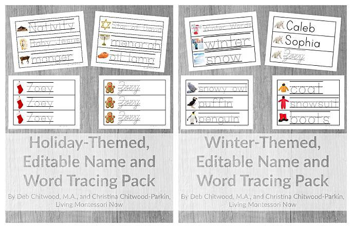Holiday- and Winter-Themed, Editable Name and Word Tracing Packs from Living Montessori Now