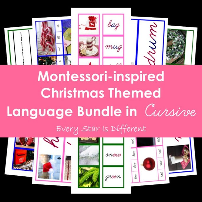 Montessori-Inspired Christmas Themed Language Bundle in Cursive from Every Star Is Different