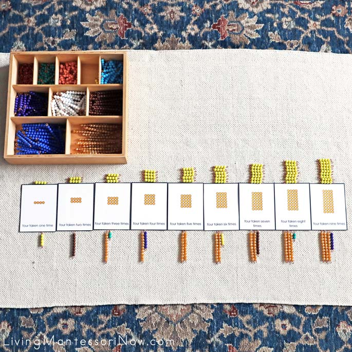 Montessori Multiplication Layout with Bead Bars and Printables
