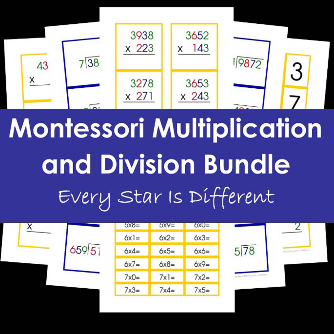Montessori Multiplication and Division Bundle from Every Star Is Different