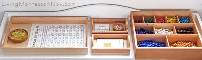 Montessori Shelf with Multiplication Materials