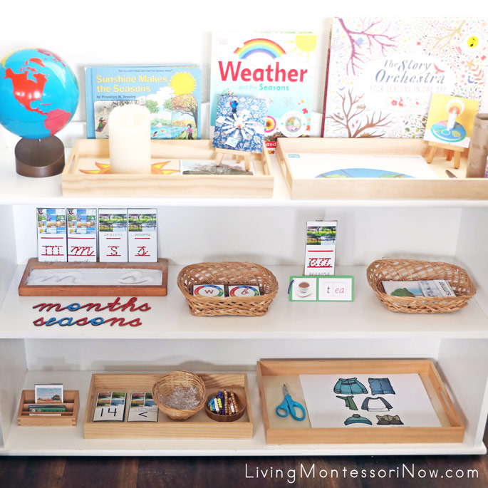 Montessori Shelves with Month and Season Themed Activities