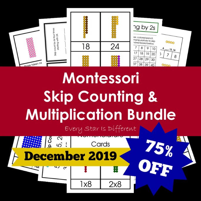 Montessori Skip Counting and Multiplication Bundle from Every Star Is Different