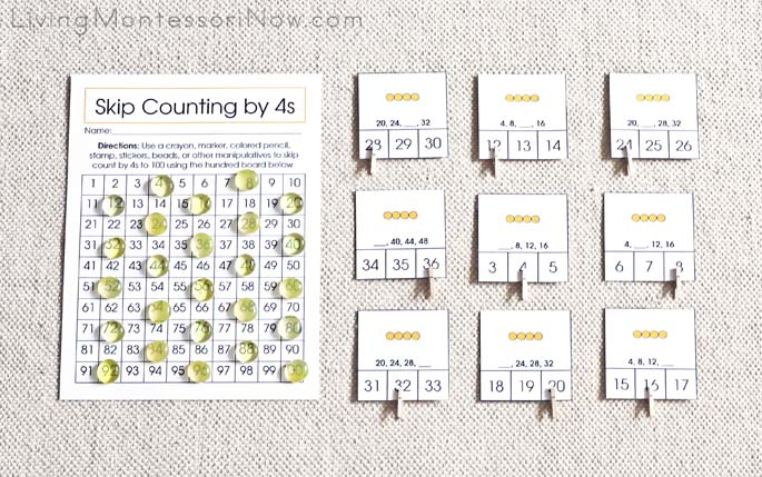 Montessori Skip Counting by 4s - Hundred Board Activity and Skip Counting Clip Cards
