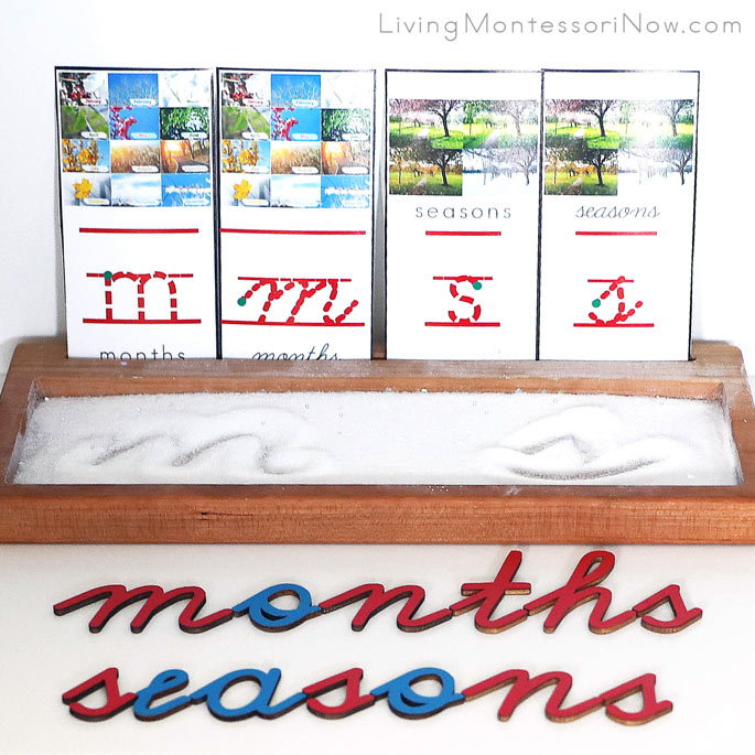 Salt and Glitter Snow Writing Tray with Months m and Seasons s Cards