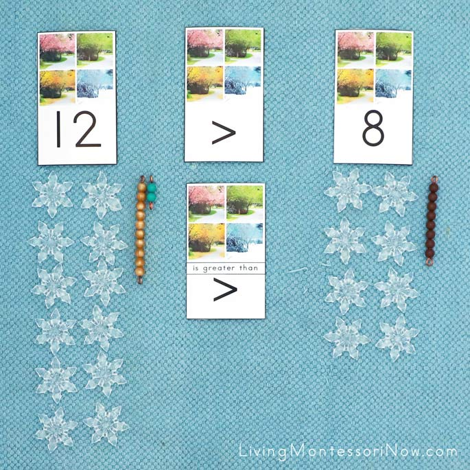 Seasons Greater Than, Less Than Activity with Snowflake and Bead Bar Manipulative