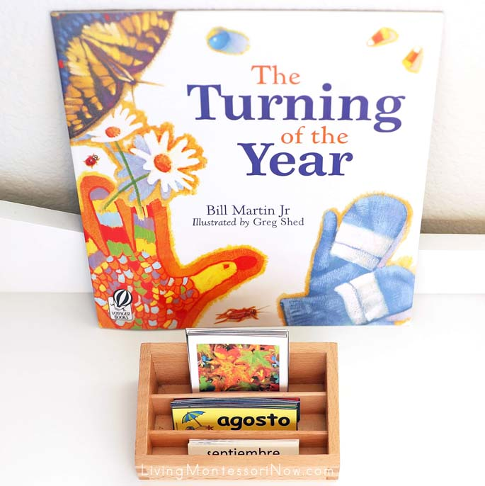 The Turning of the Year Book with Months of the Year Picture and Word Sort in English and Spanish