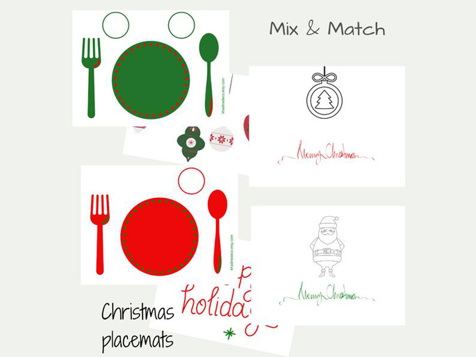 Winter-Christmas Themed Printable Placemat Bundle from Khadine Deco on Etsy