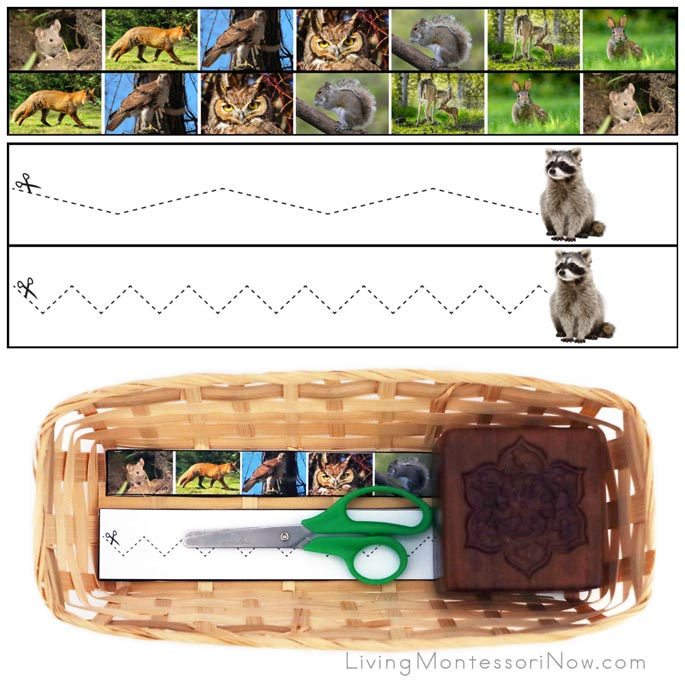 Woodland Animal Cutting Strips with Basket
