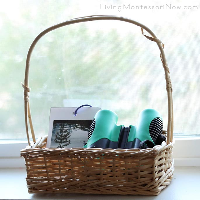Basket with Winter Nature I Spy Booklet and Binoculars