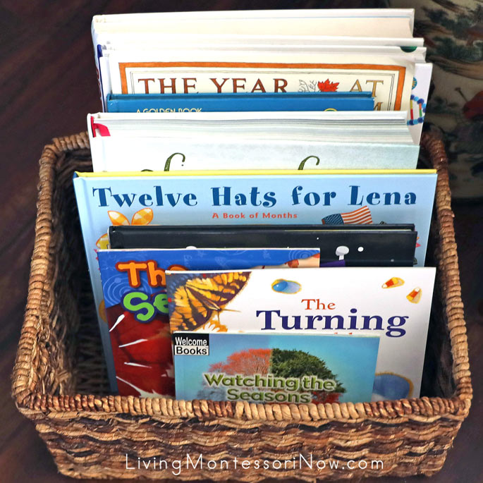 Book Basket with Months and Seasons Books