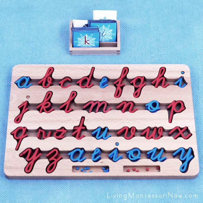 Cursive Movable Alphabet with Snowflake Alphabet Cards in Manuscript and Cursive and Winter 3-Part Cards for Spelling