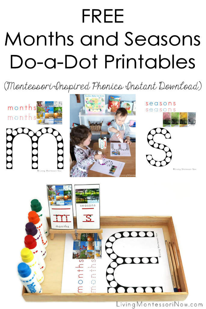 FREE Months and Seasons Do-a-Dot Printables (Montessori-Inspired Phonics Instant Download)