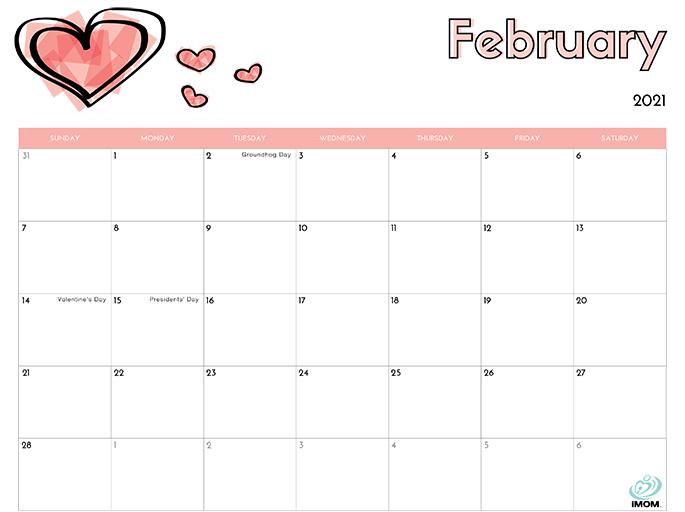 February 2021 Calendar from iMom
