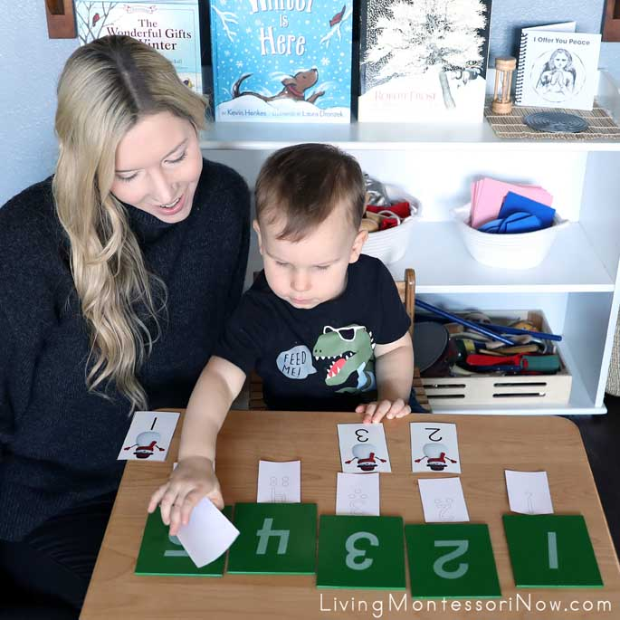 Matching Sandpaper Letters with Dotted Number Cards and Snowman Number Cards