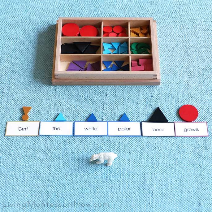 Montessori Arctic Sentence Building Grammar Work with Figures from the Safari Ltd Arctic TOOB