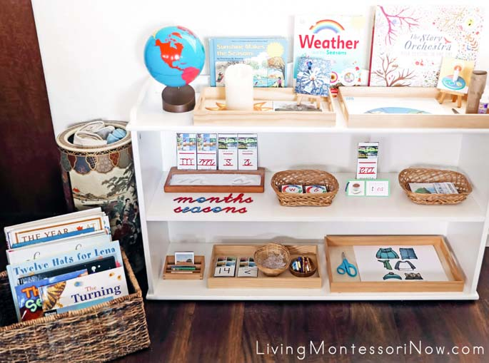 Montessori Book Basket and Shelves with Months and Seasons Themed Activities
