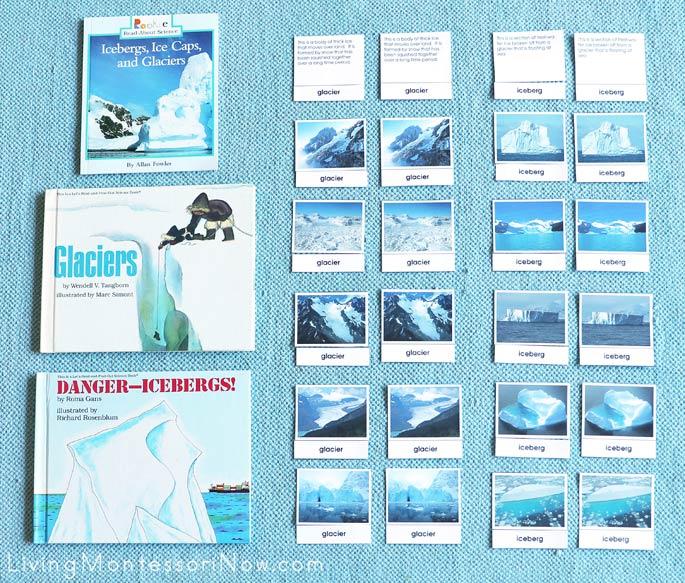 Montessori Glacier and Iceberg Books with Glacier and Iceberg Sorting