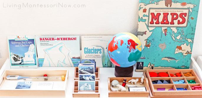 Montessori Shelf with Temperature, Glacier, and Arctic Activities