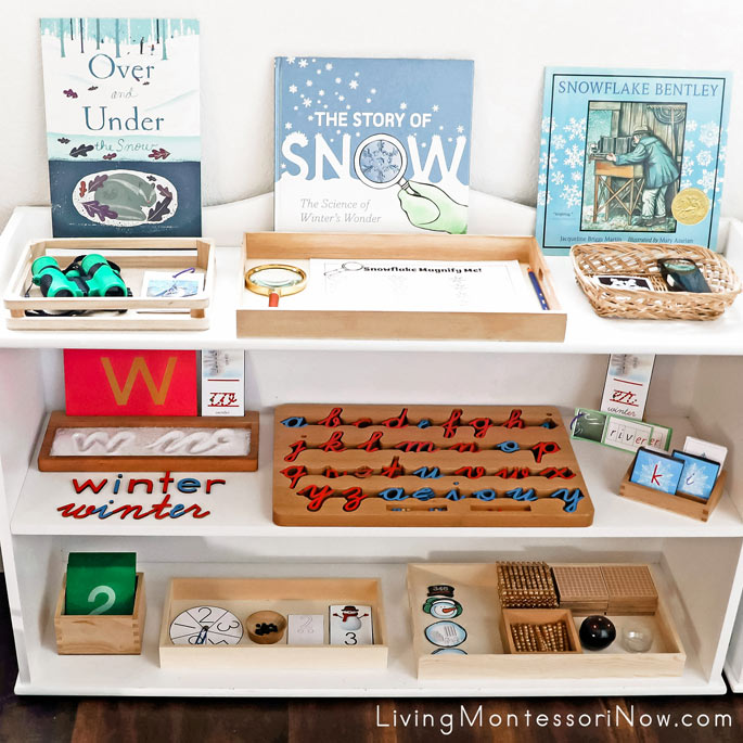 Montessori Shelves with Winter Themed Activities