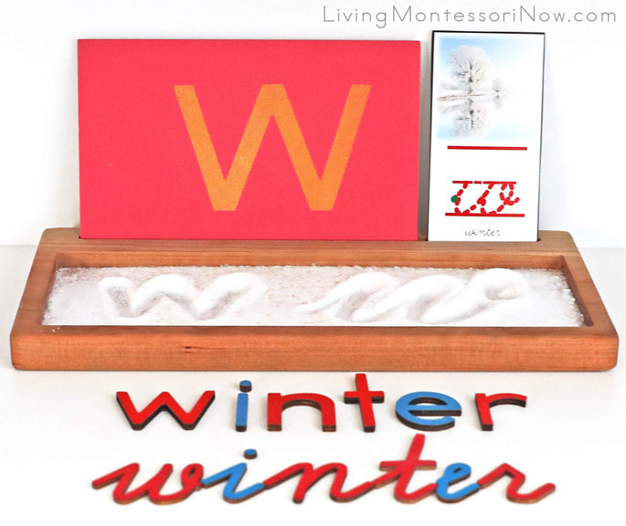 Salt and Glitter Snow Writing Tray with W Sandpaper Letter and Cursive Letter Card