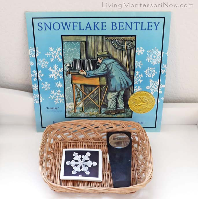 Snowflake Bentley Book with Magnifying Lens and Photographs of Snowflakes by Wilson Bentley