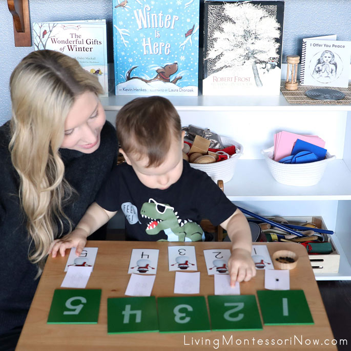 Toddler Number Matching and One-to-One Correspondence with Snowman Number Button Activity