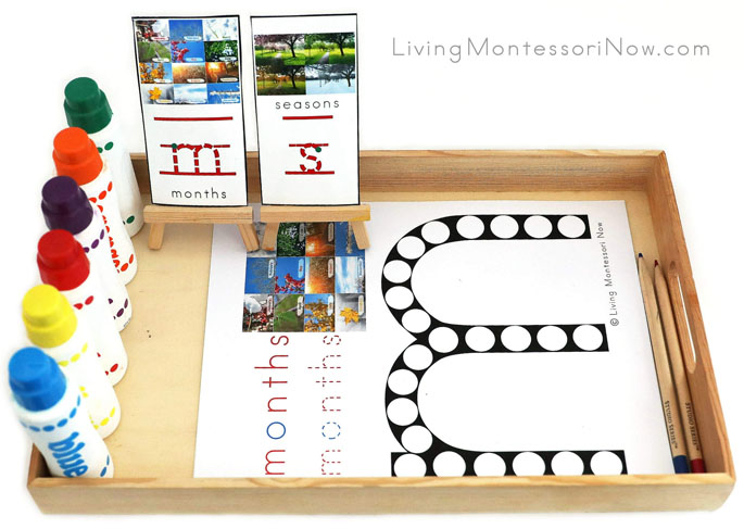 Tray with Months and Seasons Do-a-Dot Printables and Markers