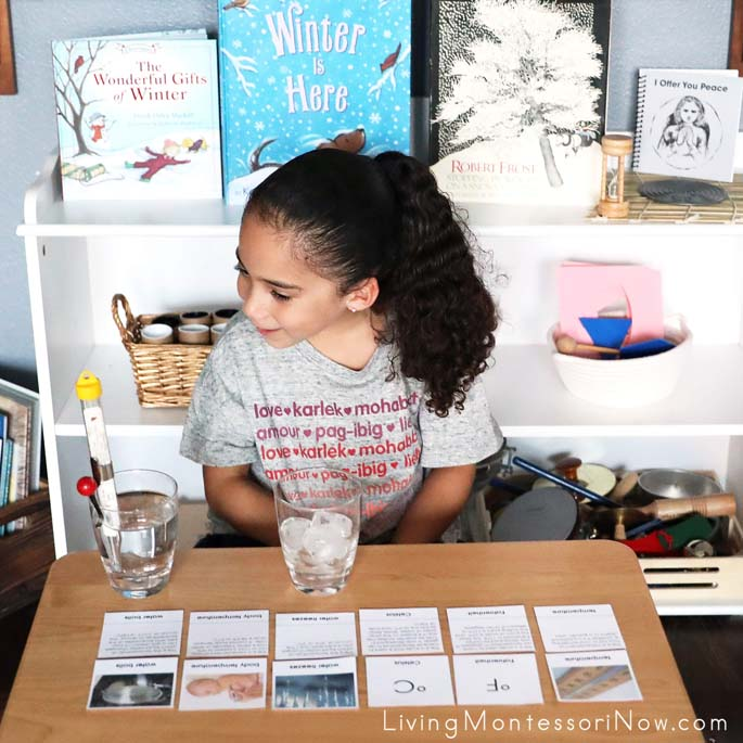 Working with Montessori Temperature Nomenclature and Description Cards with Science Activity