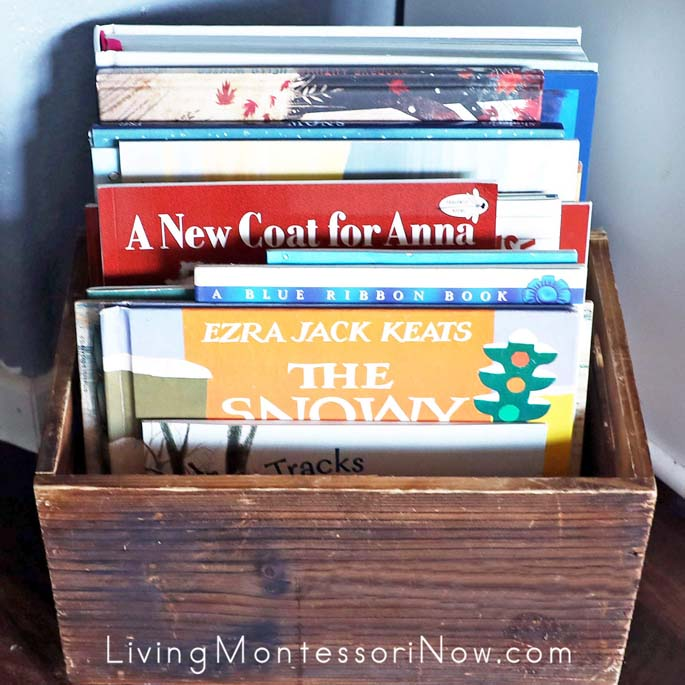 Book Basket with Winter Books