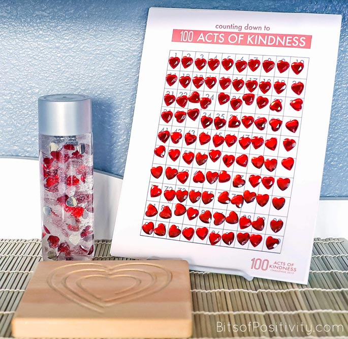 Completed 100 Acts of Kindness Chart with 100 Hearts Calming Bottle and Heart Mindful Breathing Board