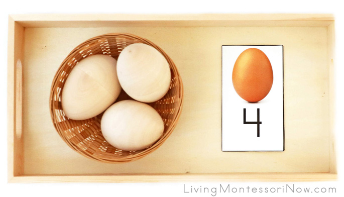 Egg Number Tray with Wooden Eggs and Mini Oviparous Animals Paired with Matching Number Cards