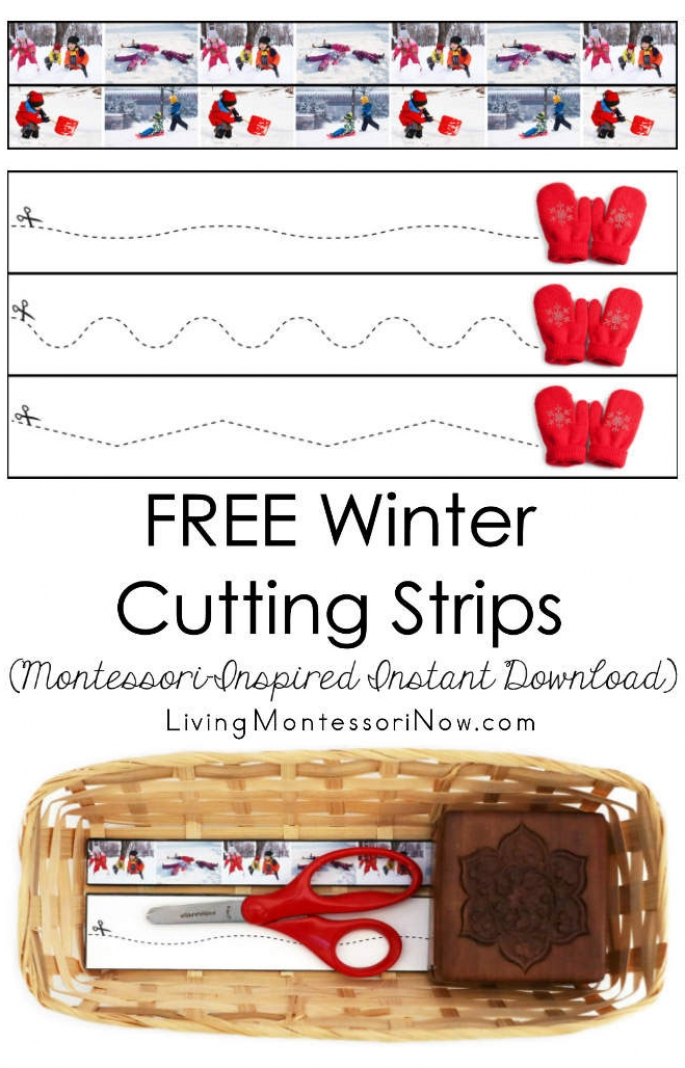 FREE Winter Cutting Strips (Montessori-Inspired Instant Download)