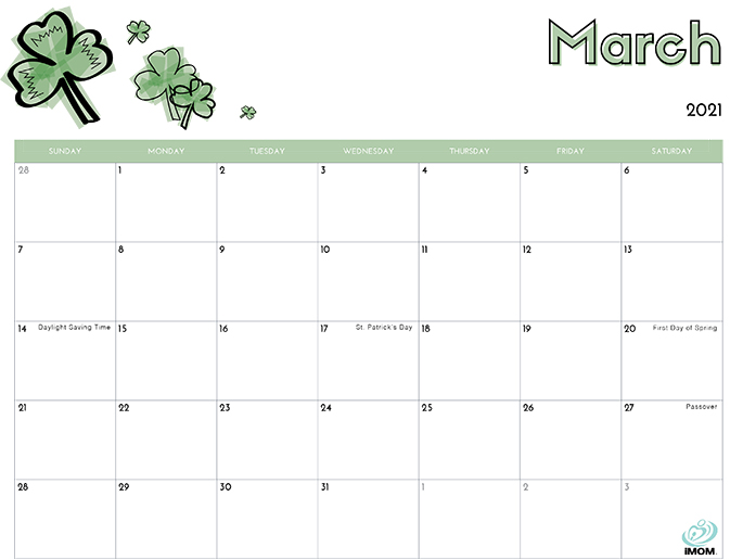 March 2021 Calendar from iMom