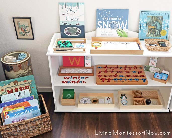 Montessori Book Basket and Shelves with Winter-Themed Activities