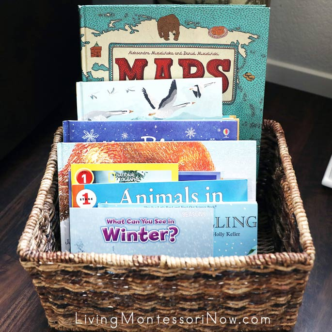 Montessori Book Basket with Winter Books