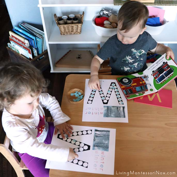 Toddler Cousins Working with W for Winter Do-a-Dot Printables