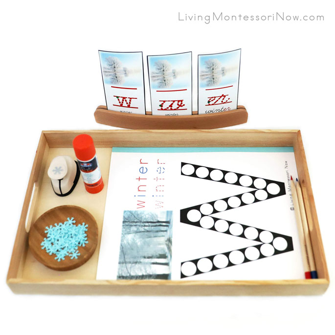 Tray with W for Winter Do-a-Dot Printable, and Snowflake Punch along with Winter Font Cards