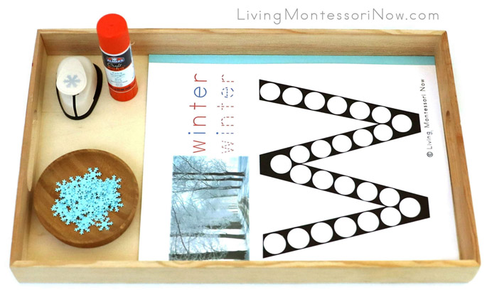 Tray with W for Winter Do-a-Dot Printable and Snowflake Punch