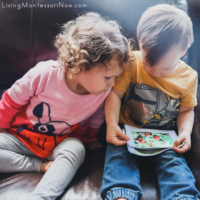"""2-Year-Old Cousins Looking at """"Thank You for Fruits"""" Page in the Thank You for Planet Earth Booklet"""