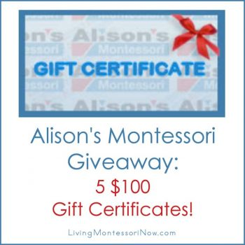 U.S. Giveaway - 5 $100 Alison's Montessori Gift Certificates!
