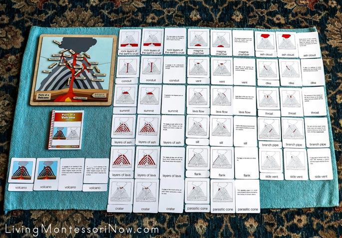 Alison's Montessori Parts of a Volcano Puzzle with 6-9 Nomenclature Cards