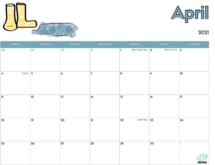 April 2021 Calendar from iMom