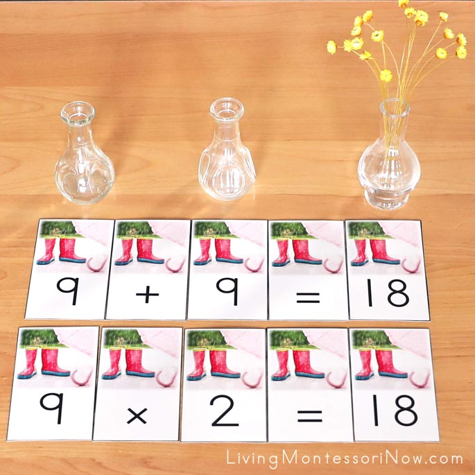 Completed April Showers Bring May Flowers Addition and Multiplication Equations
