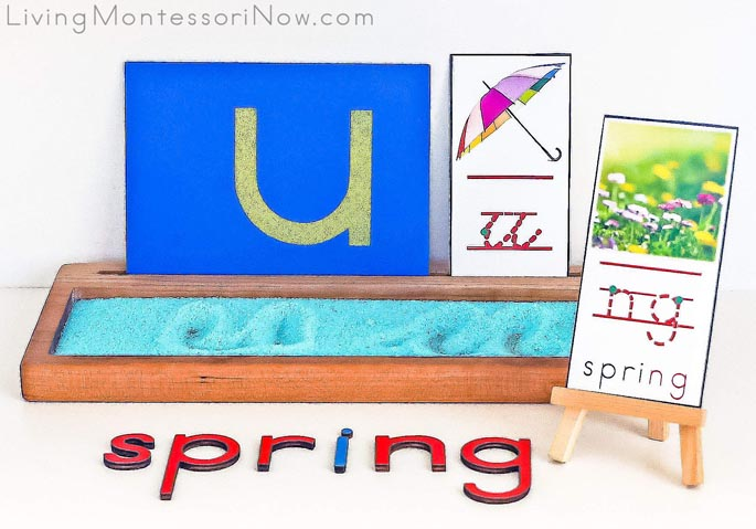 Letter U for Umbrella Letters with Salt Tray and ng for Spring Phonogram Card