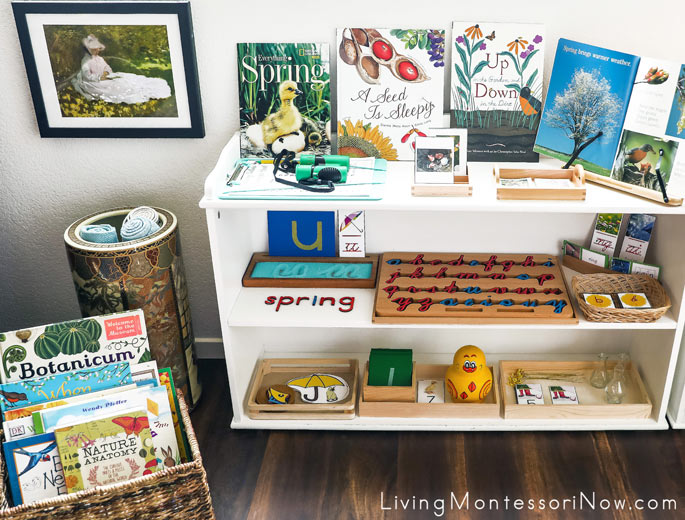 Montessori Book Basket and Shelves with Spring-Themed Activities
