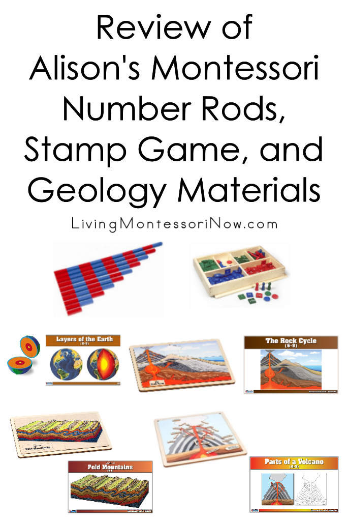 Review of Alison's Montessori Number Rods, Stamp Game, and Geology Materials