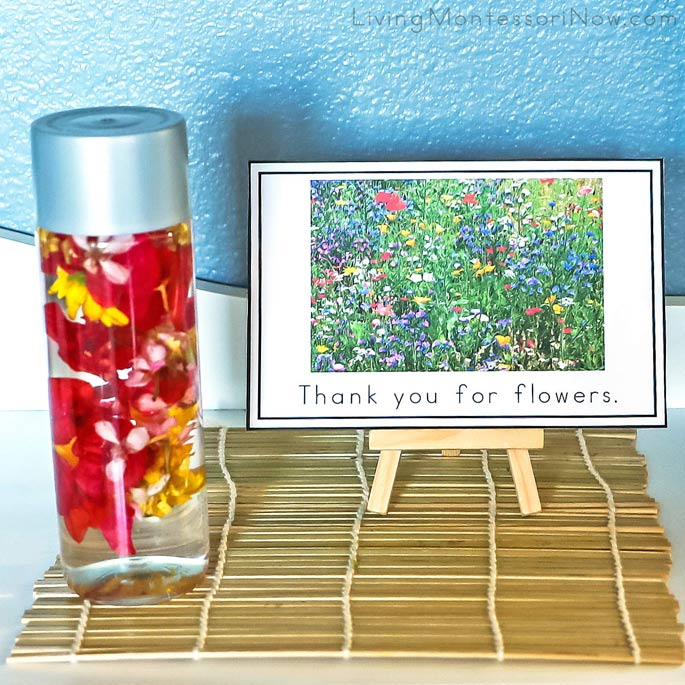 """Thank You for Flowers"" Mindfulness Card with Flower Sensory Bottle (Calming Bottle)"